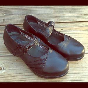 Dansko Black leather comfort Mary Jane wedge